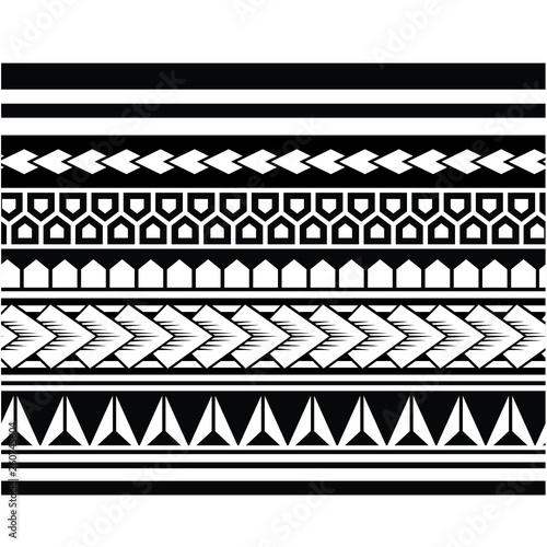 3a6216d3e9e2f Polynesian tattoo sleeve pattern vector, samoan forearm and foot design,  maori bracelet armband tattoo tribal, band fabric seamless ornament