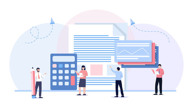 Financial statements analysis, implementing business solutions vector. Accounting vector illustration. Flat tiny math calculation persons concept. Company finance and tax calculation.