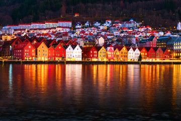 Wall Mural - View of harbour old town Bryggen in Bergen, Norway during the night