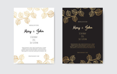 Vector invitation with gold floral elements. Luxury ornament template. greeting card, invitation design background.