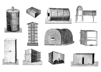 Set of Vintage Vector Drawings or Antique Engraving Illustrations of Various Bee Hives or Beekeeping Tools.