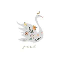 Swan lake. Lettering calligraphy. Girl princess, greeting card poster and postcard, vector image