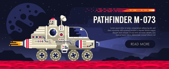 Space rover on red planet surface. Exploring an alien planet. Vector illustration.