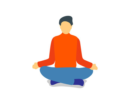Man sitting in yoga lotus position. Calm male meditating. Entrepreneur engage in spiritual practices for mental balance, stress relief. Vector illustration