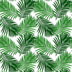 Seamless tropical background. Hand-drawn illustration of palm leaves. Background to create your design: packaging, invitations, greetings, textiles, wallpaper, etc.