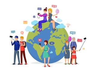 Worldwide social media leisure vector illustration