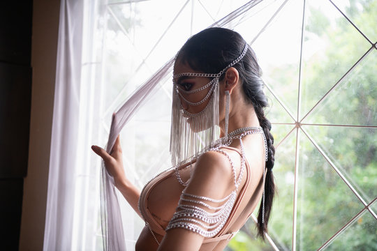 Sexy concept. Sensual woman is seductive with body posture. Asian girls are posing like a pro.