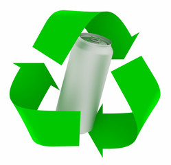recycle symbol with aluminium can