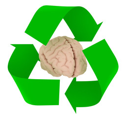 recycle symbol with human brain