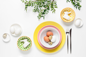 Easter table setting decoration concept