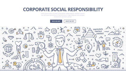 Corporate Social Responsibility Doodle Concept