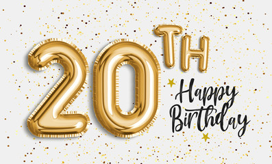 Happy 20th birthday gold foil balloon greeting background. 20 years anniversary logo template- 20th celebrating with confetti. Photo stock.