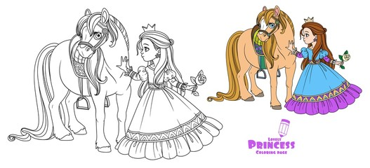 Beautiful princess stroking a horse color and outlined picture for coloring book on white background