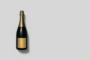Champagne Bottle with label on white background.High resolution photo.