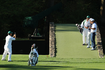 Kodaira and Matsuyama have their picture taken during the final day of practice for the 2019 Masters golf tournament at the Augusta National Golf Club in Augusta, Georgia, U.S.