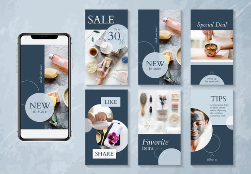 Beauty and spa social media design layout with blue accents