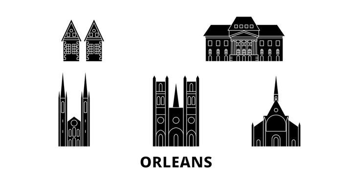 France, Orleans flat travel skyline set. France, Orleans black city vector panorama, illustration, travel sights, landmarks, streets.