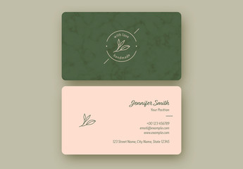 Green and Pink Business Card