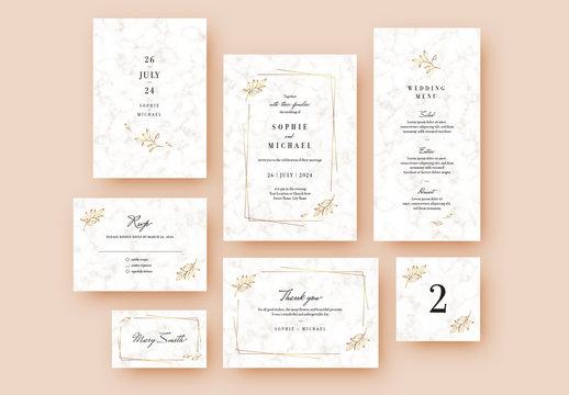 White Marble Wedding Stationery Set