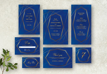 Blue and Gold Wedding Stationery Set