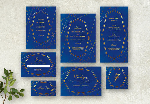 Blue and Gold Wedding Stationery Set