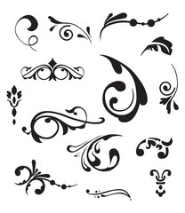 Vector set  of vintage elements. Decorative ornaments and dividers.