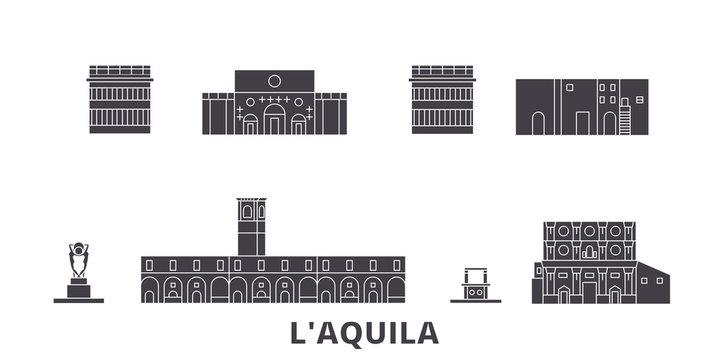 Italy, L'aquila flat travel skyline set. Italy, L'aquila black city vector panorama, illustration, travel sights, landmarks, streets.