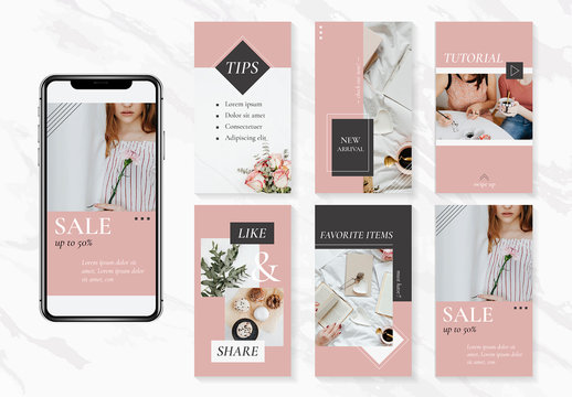 Elegant Lifestyle Social Media Set Layout with Pink Accents