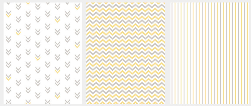 Set of 3 Geometric Seamless Vector Patterns. Gray and Yellow Chevron on a White Background. Gray and Yellow Stripes on a White Layout. Abstract Arrows on a White. Simple Marine Style Decoration Set.