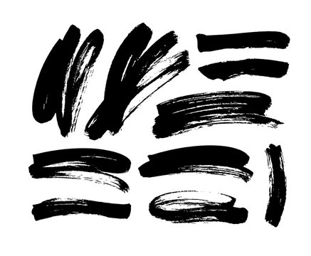 Black dry brushstrokes hand drawn set. Vector grunge lines smears collection.