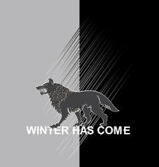 Terrible wolf on a black and white background. Ferocious predator. Emblem sticker. Vector image with text on a contrasting background.