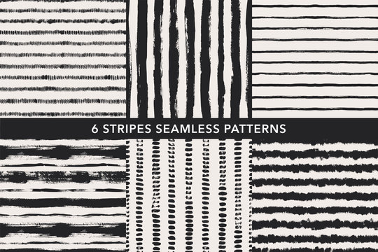 Grunge stripes hand drawn seamless patterns set. Vector ornaments for wrapping paper.