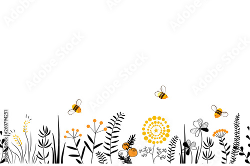 Wall mural Vector nature seamless background with hand drawn wild herbs, flowers and leaves on white. Doodle style floral illustration.
