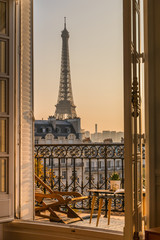 Photo sur Toile Tour Eiffel beautiful paris balcony at sunset with eiffel tower view