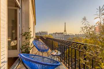 beautiful paris balcony at sunset with eiffel tower view  Wall mural