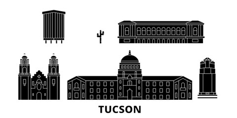 United States, Tucson flat travel skyline set. United States, Tucson black city vector panorama, illustration, travel sights, landmarks, streets.