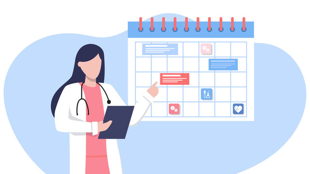 Friendly female doctor near the calendar. work schedule, make an appointment online. Vector illustration for banner, landing page