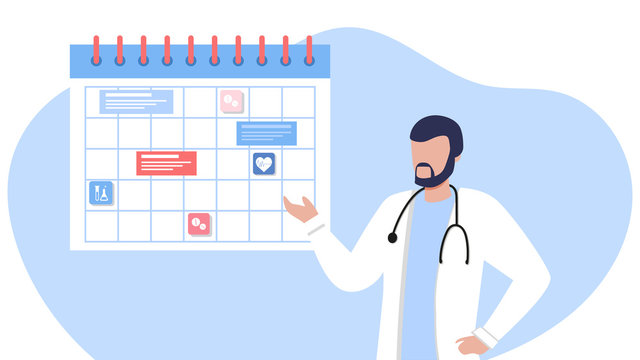 Friendly male doctor near the calendar. work schedule, make an appointment online. Vector illustration for banner, landing page