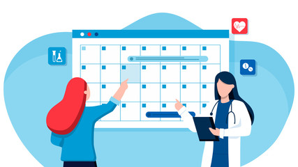 A woman makes an appointment with an online female doctor. On the calendar selects the desired date. calendar. work schedule, make an appointment online. Vector illustration for banner, landing page