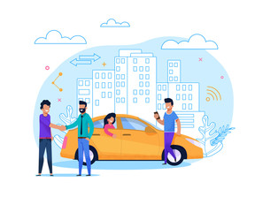 Yellow Taxi Order or Share. Flat Line Illustration