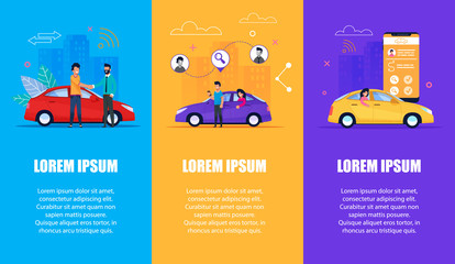 Car Service Vertical Banner Set. Carsharing, Taxi
