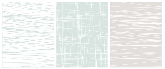 Set o 3 Abstract Geometric Layouts. Irregular Hand Drawn Scribbles on White, Blue and Light Gray Backgrounds. Funny Simple Creative Design. Infantile Style Stripes and Mesh Graphic.
