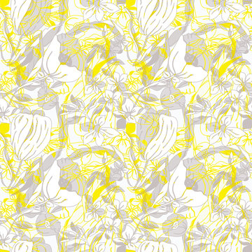 Vector illustration of stylized abstract florals, poppies, tulips, peonies and leaves in yellow, taupe, grey and white. Seamless repeat pattern for gift, cards, wallpaper, scrapbooking, fabric,