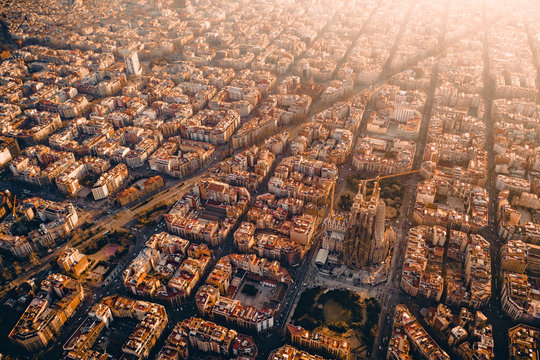 Aerial view of city, Barcelona, Spain