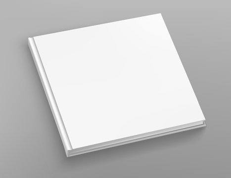 White hardcover square book album vector mock up on grey table.