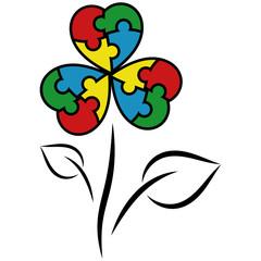 Autism symbol with flower puzzle pieces