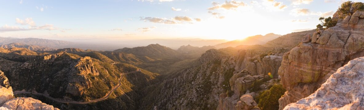 A panorama view down from Mount Lemmon, Arizona at sunset.