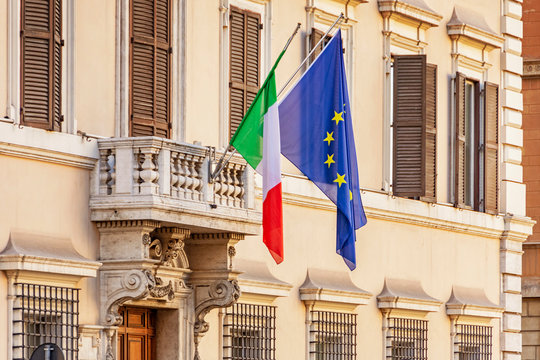 Italian and european union flags in Rome