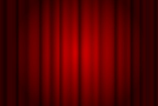 Red curtains wide background illuminated by a beam of spotlight. Red theater show curtain vector illustration.