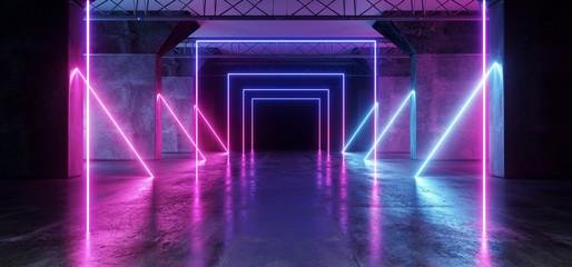 Virtual Path Sci Fi Neon Glowing Fluorescent Laser Alienship Stage Dance Lights Ultraviolet Purple Blue Pink In Dark Empty Grunge Concrete Neon Reflective Tunnel Hall Corridor 3D Rendering